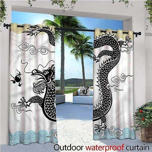 Warm Family Dragon - Cortina de privacidad para pérgola y bocetos Pastel de dragón de bebé, Aislante térmico, Repelente al Agua, para balcón: Amazon.es: Jardín