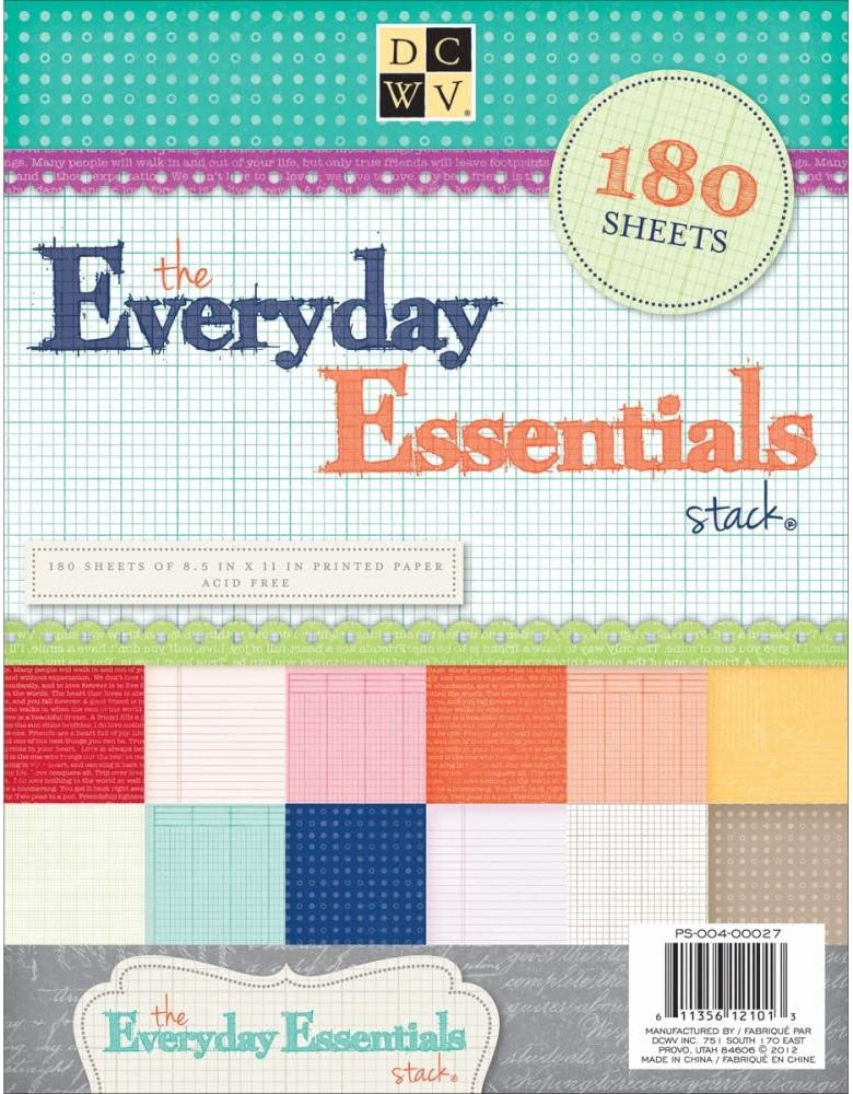 DCWV PS-004-00027 Cardstock Everyday Essentials Stack 8.5X11 180 Sh Acid Free, Multicolor