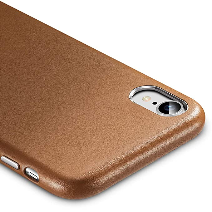 online store 62051 1fbcd ESR Premium Real Leather Case for The iPhone XR, Slim Protective Cover  [Supports Wireless Charging] for The Apple iPhone XR (2018) - Brown