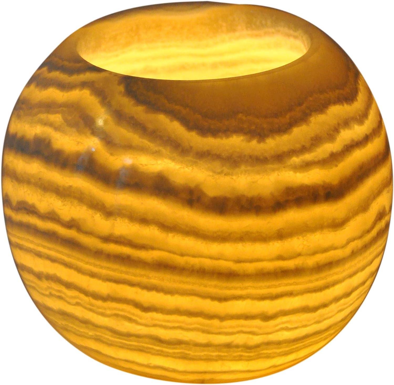 CraftsOfEgypt シングルアラバスターキャンドルホルダー - エジプト ティーライトと奉納キャンドルホルダー 琥珀色の光 ホームデコレーション用 - 天然石 落ち着いた静かなオーロラ X-Large ALB-100