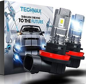 TECHMAX H11 LED Fog Light Bulb,H8 DRL 6000K Xenon White 2800LM 60W 320°Beam Angle Pack of 2