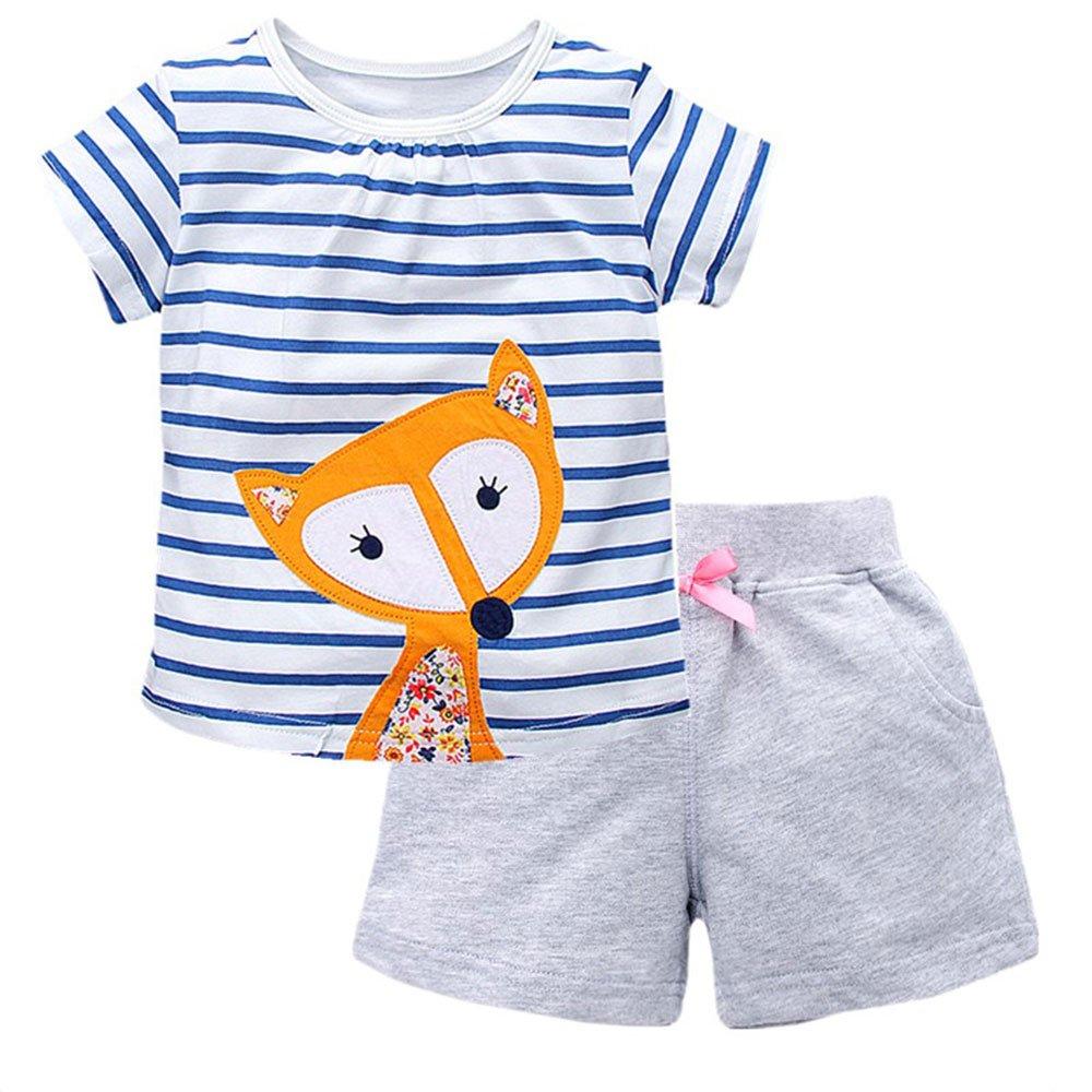 HUAER&& Little Kids Girls Cotton Cute Cartoon T-Shirt + Shorts Set (2T, 62008)