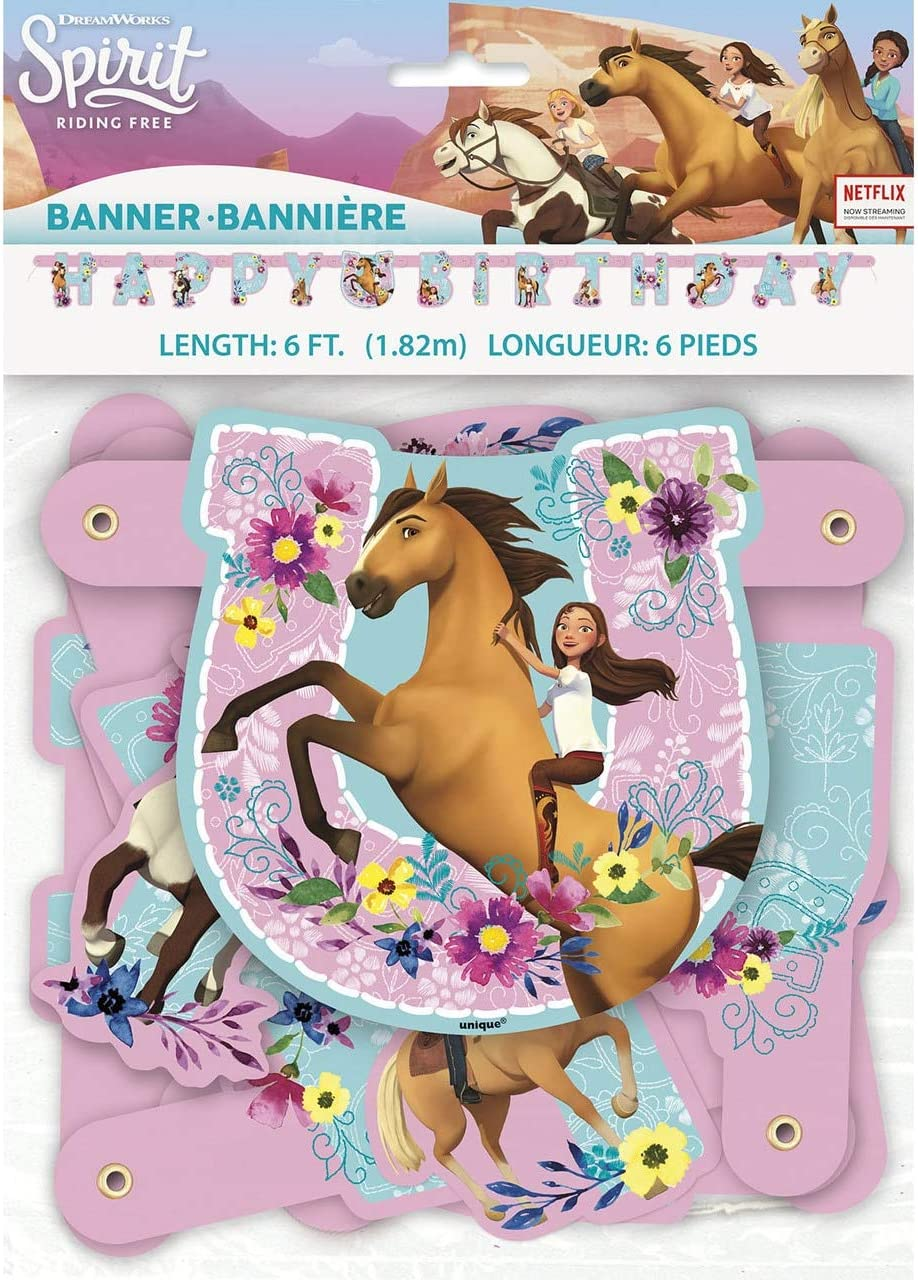 amscan Unique 79219 Spirit Riding Free Jointed Party Banner Large, 1 Ct. 6', Multi, One Size