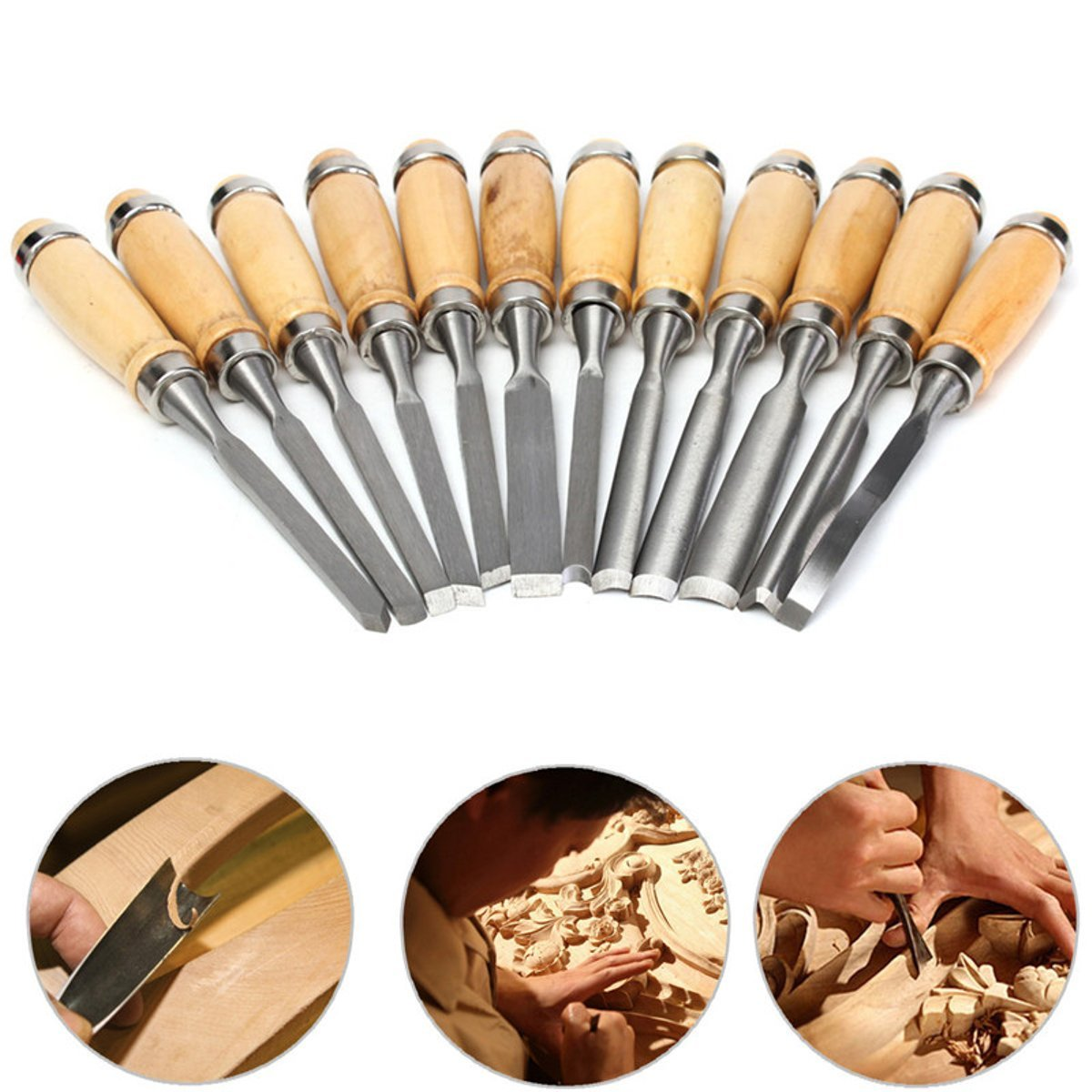 12Pcs Professional Wood Carving Hand Chisel Tool Woodworking Tools Set For Carpenter