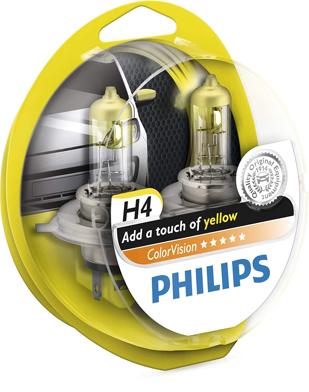 Philips ColorVision Bombilla para faros delanteros amarilla 12342CVPYS2, bombilla para coches (60W, H4/H7, Fog light, High beam, Luz interior, Low beam, ...