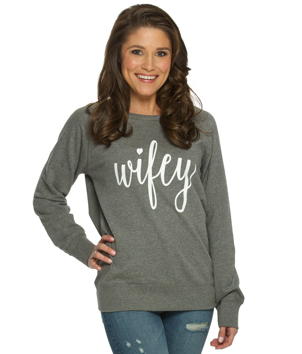 The Paisley Box Women's Heather Gray Wifey Sweatshirt, Size Large