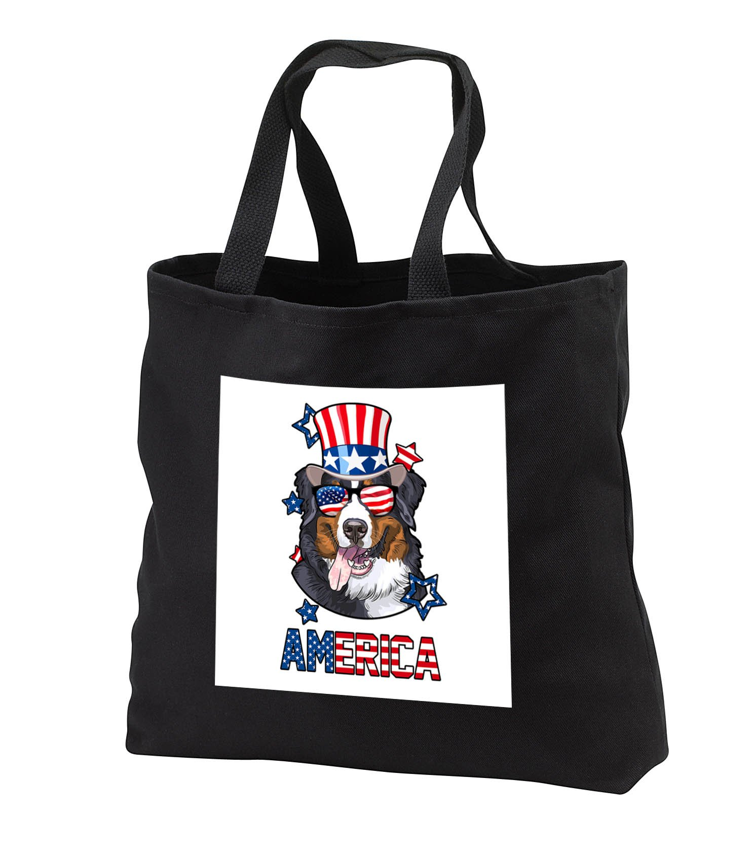 Patriotic American Dogs - Bernese Mountain Dog With American Flag Sunglasses and Tophat America - Tote Bags - Black Tote Bag JUMBO 20w x 15h x 5d (tb_284230_3)