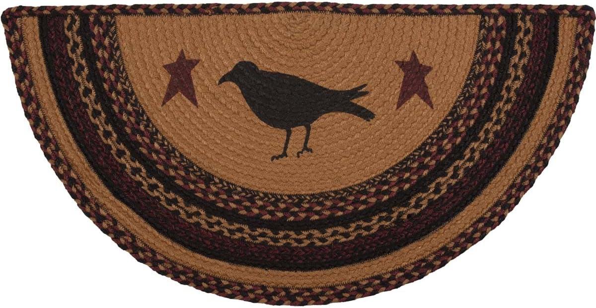 VHC Brands Heritage Farms Crow Half Circle Jute Rug 16.5x33 Country Braided Flooring, Tan