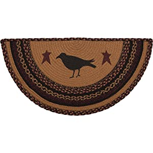 "VHC Brands 37900 Primitive Flooring-Heritage Farms Tan Crow Half Circle Jute Rug, 1'4.5"" x 2'9"", Mustard Yellow"