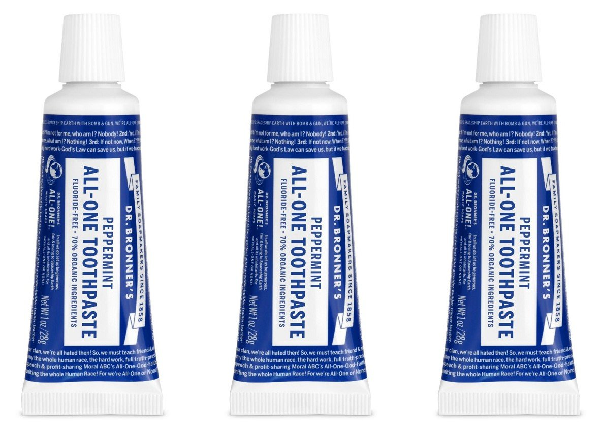 Dr. Bronner's Peppermint Travel Toothpaste 3 Pack. Fluoride Free Natural Toothpaste with Organic Ingredients (3 x 1 oz).