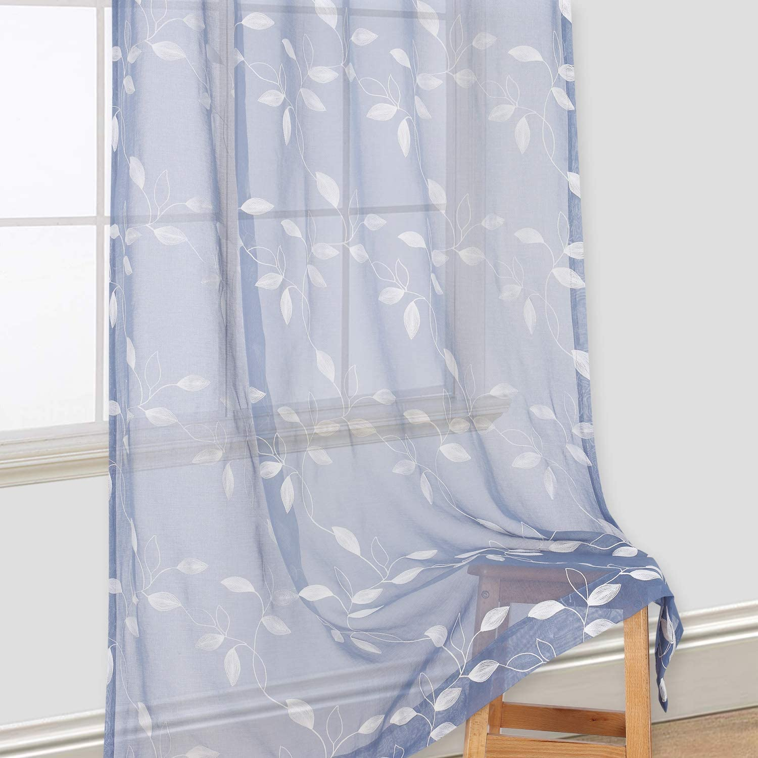 Embroidered Blues on Linen Curtain Valance