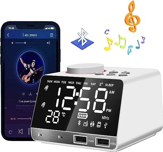 HQQNUO Despertador Radio Altavoces Bluetooth FM Reloj Alarma ...
