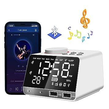 HQQNUO Despertador Radio Altavoces Bluetooth FM Reloj Alarma Digital con Alarma Doble 2 Puertos USB Tarjeta TF Función Snooze Termómetro - Blanco: ...