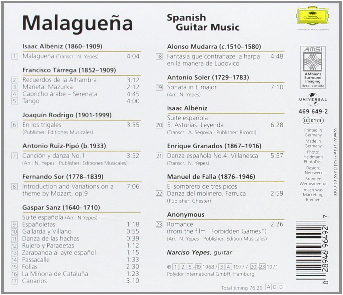 Malaguena - Spanish Guitar Music: Narciso Yepes: Amazon.es: Música