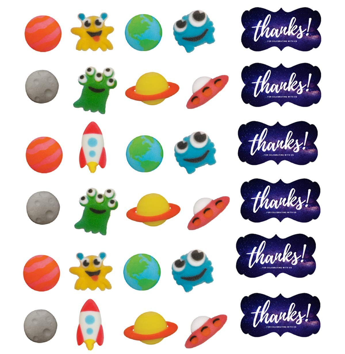 24pk Outer Space Sugar Decoration Toppers for Cakes Cupcakes Cake Pops with Sparkle Flakes & Galaxy Decorating Stickers'