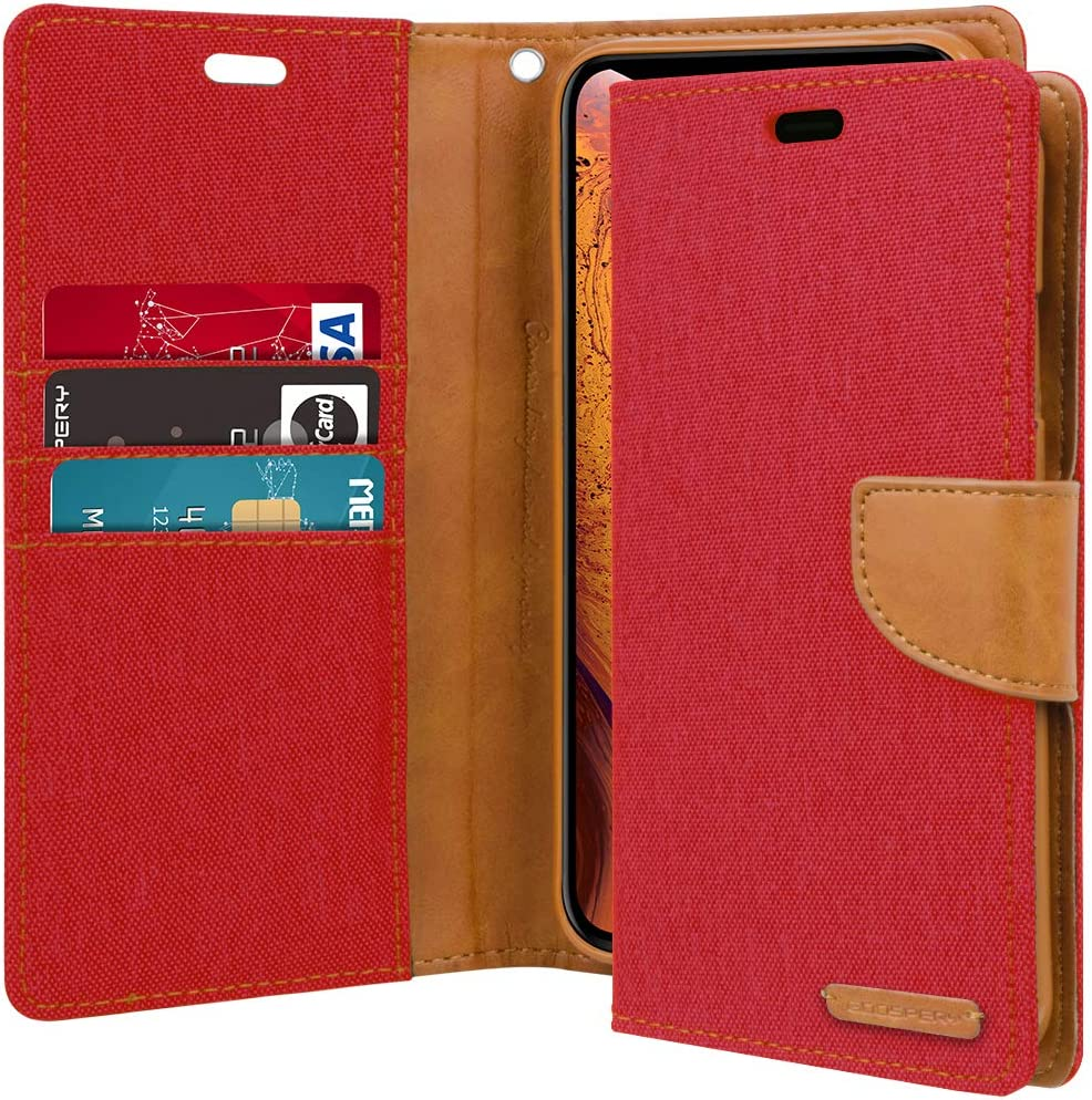 Goospery Canvas Wallet for Apple iPhone Xs Case (2018) iPhone X Case (2017) Denim Stand Flip Cover (Red) IPX-CAN-RED