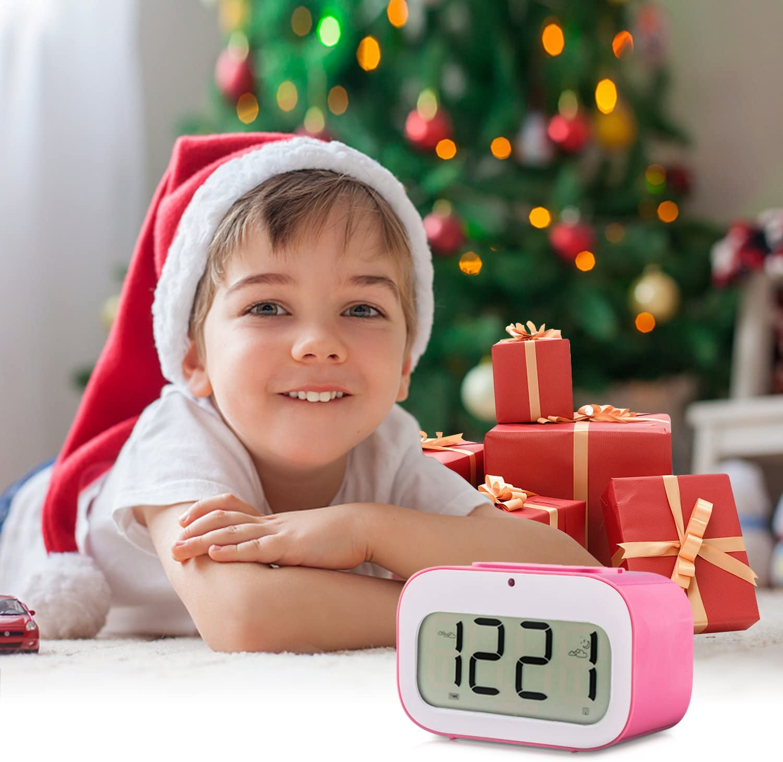 LED Travel Alarm Clock Dynamic Emoji LED Display Multifunctional Electronic Snooze Smart Backlight Desktop Digital Double Alarm Clocks//Timer//Thermometer//Date//Day Countdown by VARANDA Blue