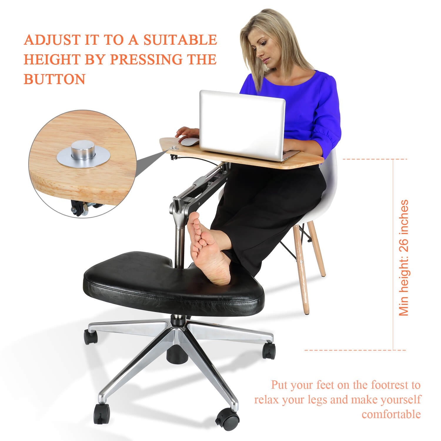 RoomyRoc Mobile Laptop Desk/Cart/Stand with Adjustable Tabletop and Footrest Computer Table (Black) KEDIBO B-1
