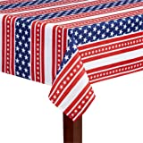 Patriotic Red White and Blue Stars and Stripes Print Fabric Tablecloth (60 x 84 Rectangle/Oblong)