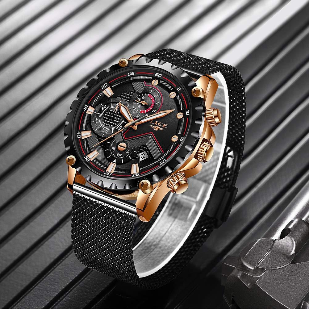 LIGE Relojes para Hombre Militar Cronógrafo Impermeable Reloj de ...