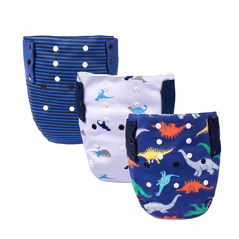 BIG ELEPHANT Baby Waterproof Cloth Diaper, Absorbent Insert Snaps Design 15-38 lb Fits 1-3T