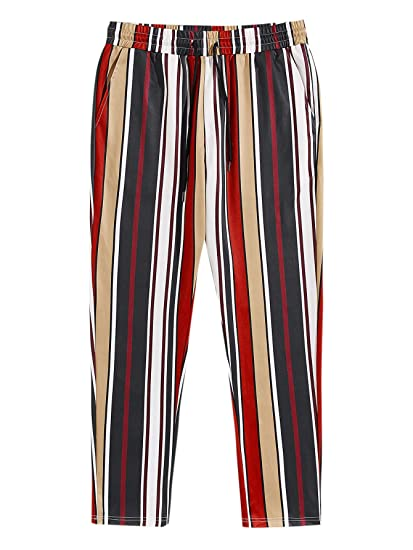 ROMWE Mens Striped Elastic Waist Drawstring Slant Pocket Mid Waist Pants