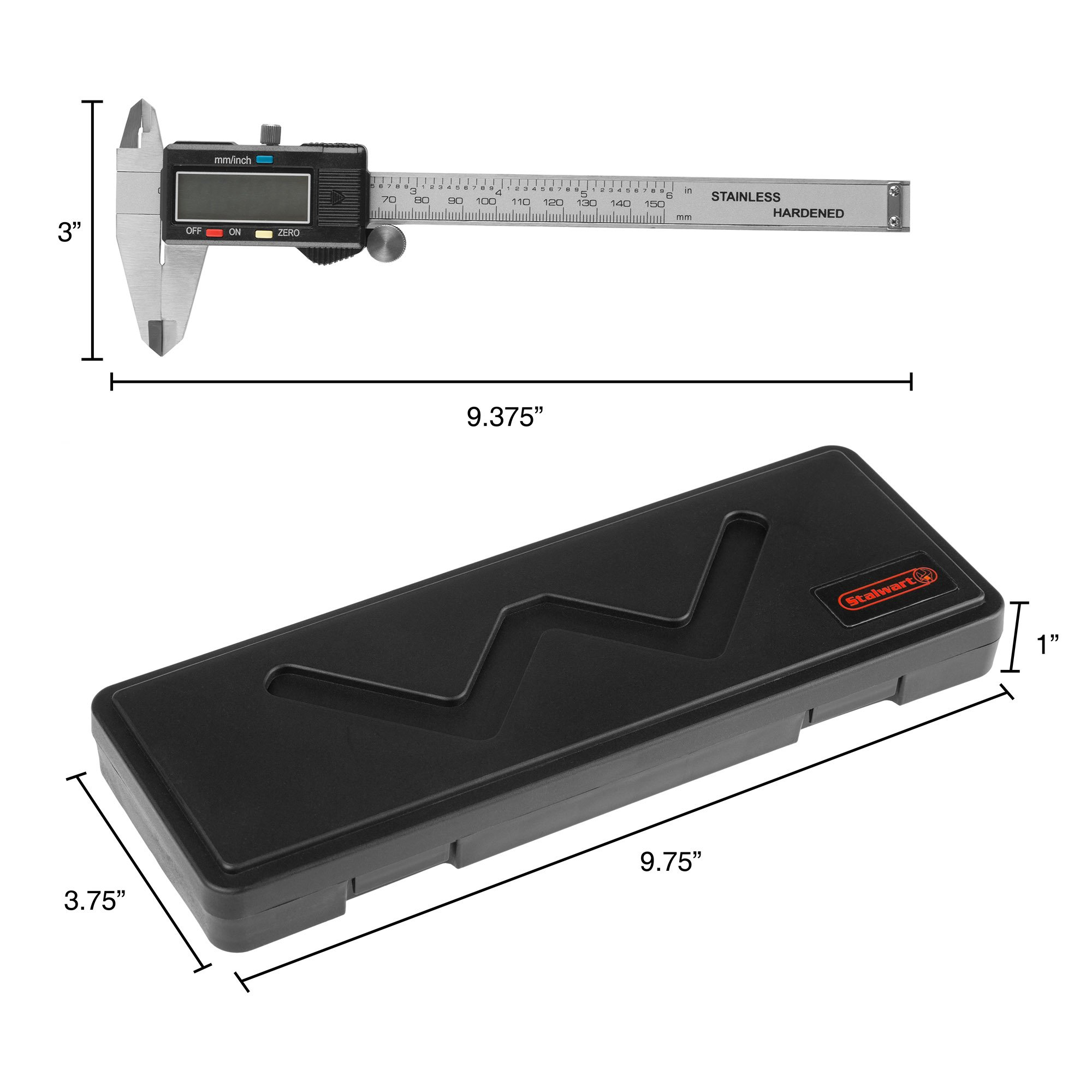 Electronic Digital Caliper, Stainless Steel with Extra Large LCD Screen and Inch/Metric Conversion- Measures Up to 6 Inch (0-150mm) by Stalwart by Stalwart (Image #2)