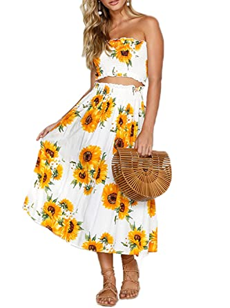 71081d056f Famulily Womens 2 Piece Summer Sets Floral Print Crop Top+Midi Skirt(XL,White):  Amazon.co.uk: Clothing