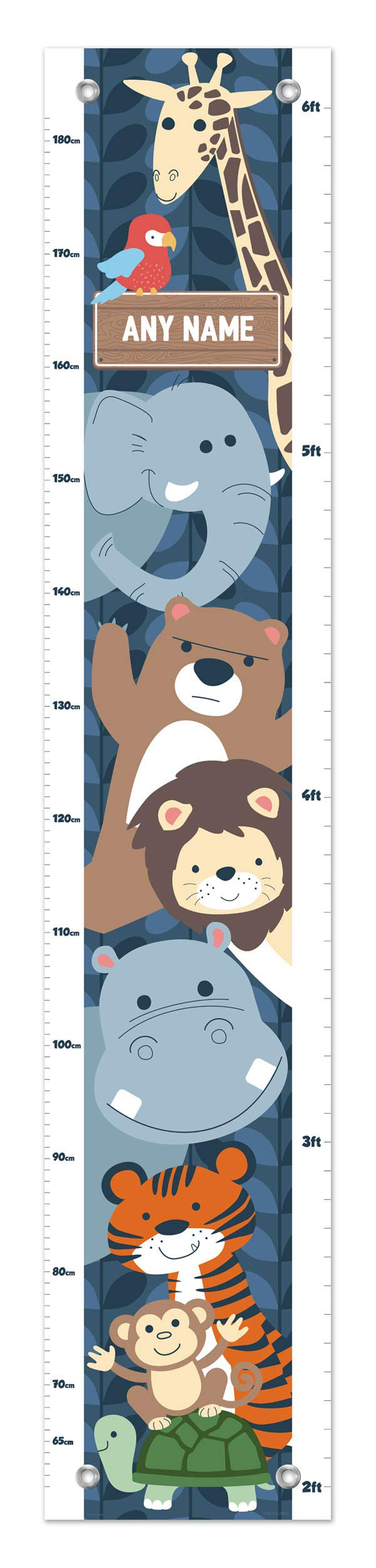 Wild Animals Growth Chart Any Name Safari Growth Chart for Kids Height Personalized Growth Chart