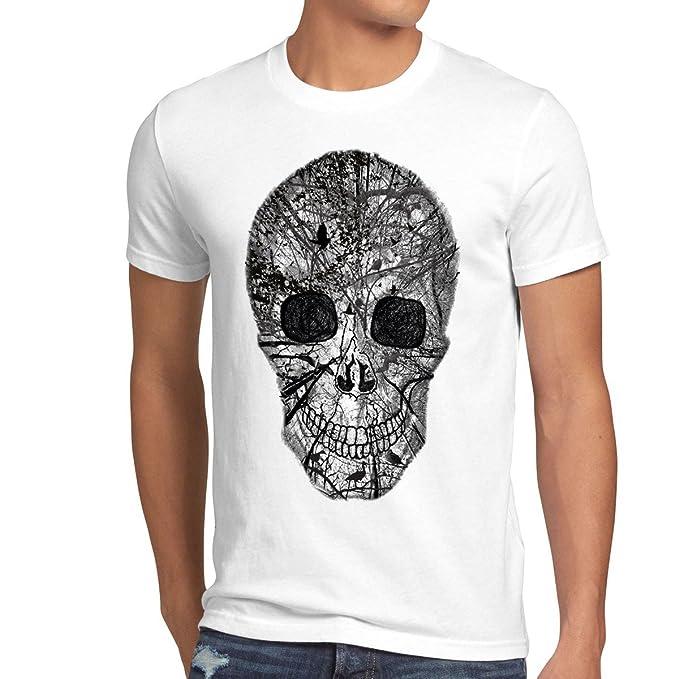 a1962d8775c2f style3 Nature Skull Camiseta para hombre T-Shirt calavera  Amazon.es  Ropa  y accesorios