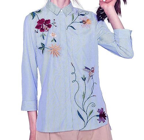 Irregular Camisas rayadas de Manga larga, Holacha blusa de Bordado Floral