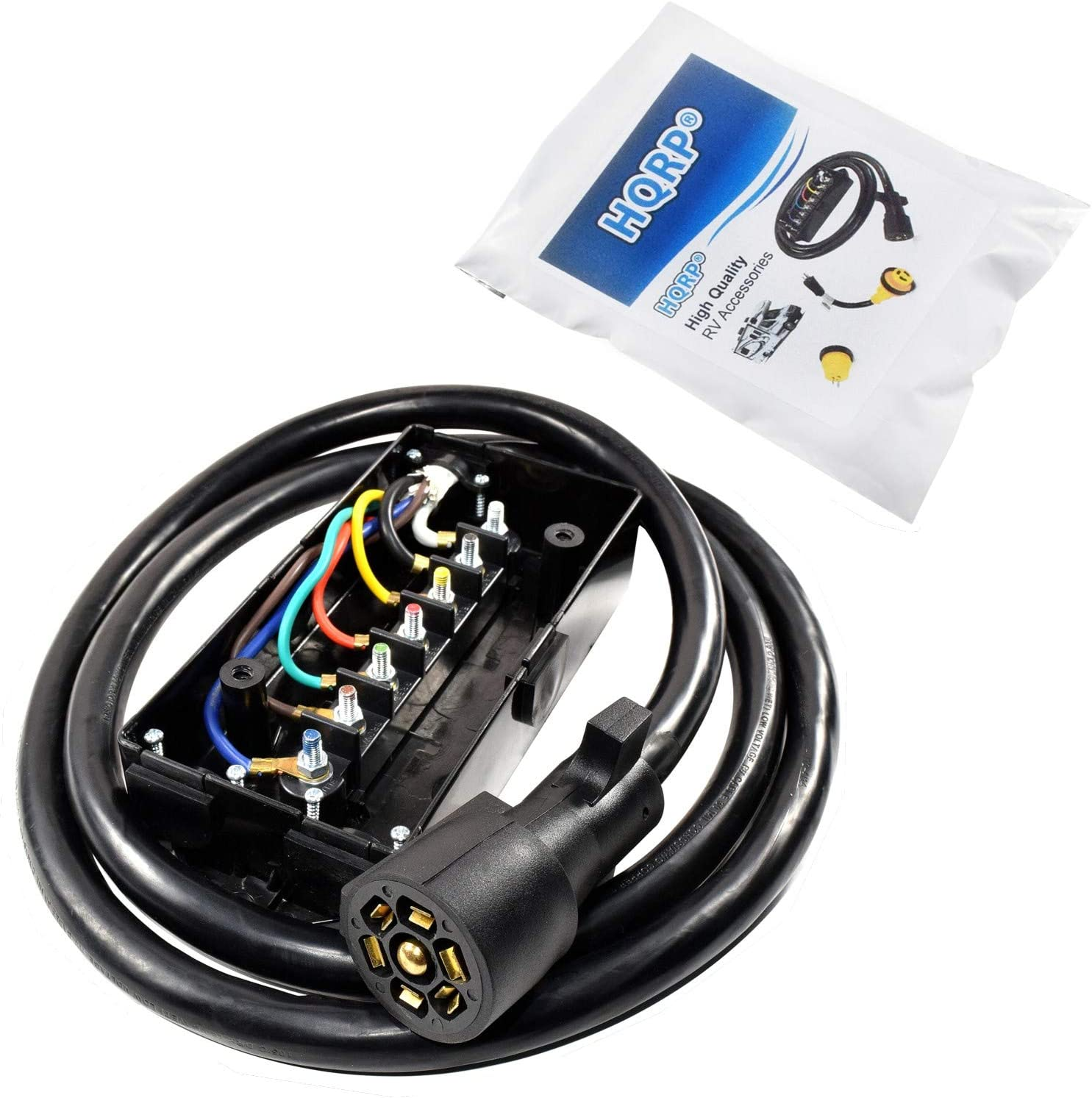 [DIAGRAM_34OR]  Amazon.com: HQRP 7-Way Plug Inline Trailer Cord / 7-Pin Wiring Harness  w/Junction Box / 7 Blade Wire Cable Towing Wiring Connect Kit for RV Camper  Truck - 4ft, Weatherproof and Corrosion Resistant: | Truck Camper Wire Harness |  | Amazon.com