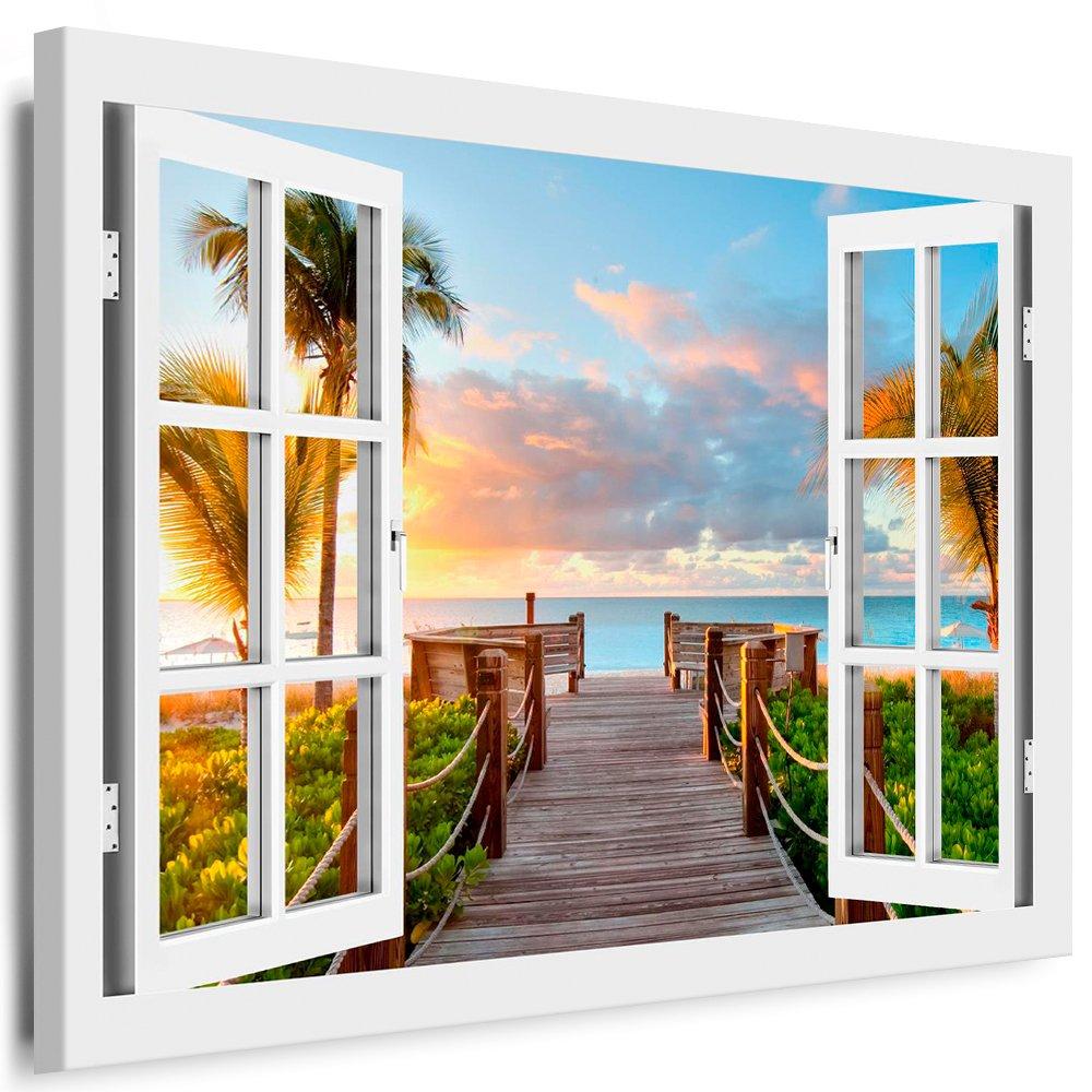 Blick aus dem fenster poster  Amazon.de: BOIKAL XXL85-3 Fensterblick Leinwand bild 3D Illusion ...