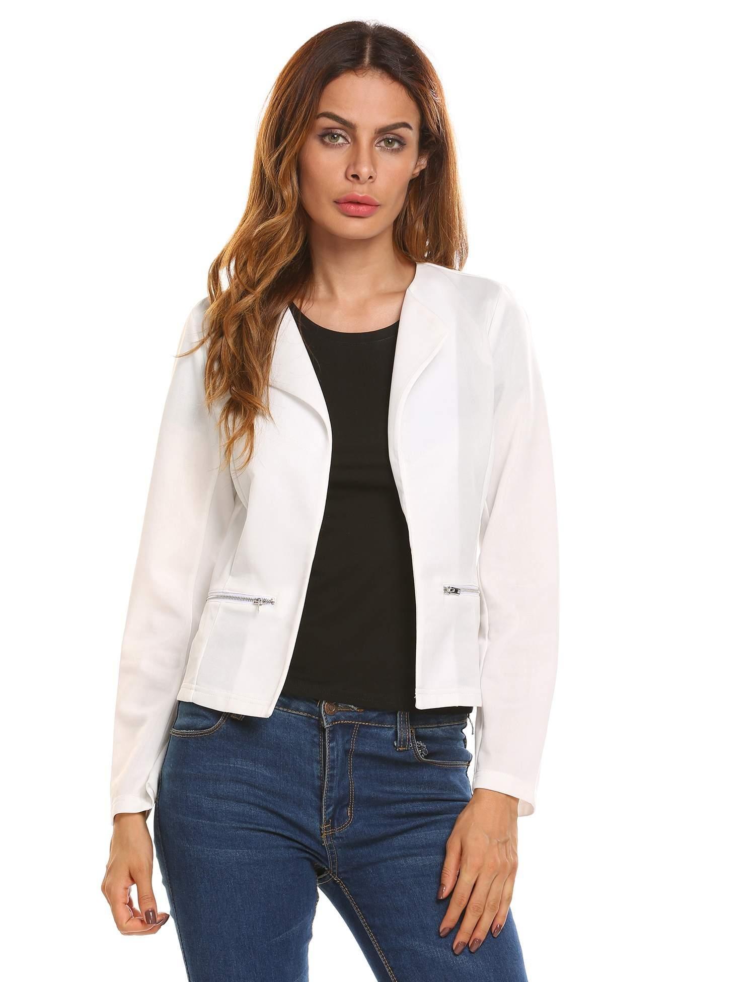 Angvns Women's Cardigan Blazer, Lightweight Long Sleeve Zipper Front Open Casual Office Blazer Jacket