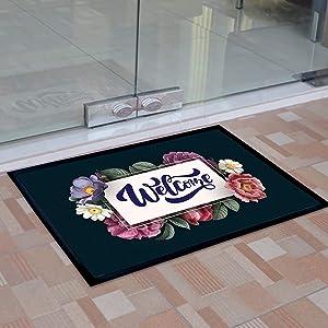 Welcome Floral Decor Outdoor Door Mats, Non Slip Rubber Backing Entrance Floor Mat Decor, Durable Front Door Entry Area Carpet Rug, Non-Woven Fabric for Home, Office, Porch, Kitchen (3' X 2')