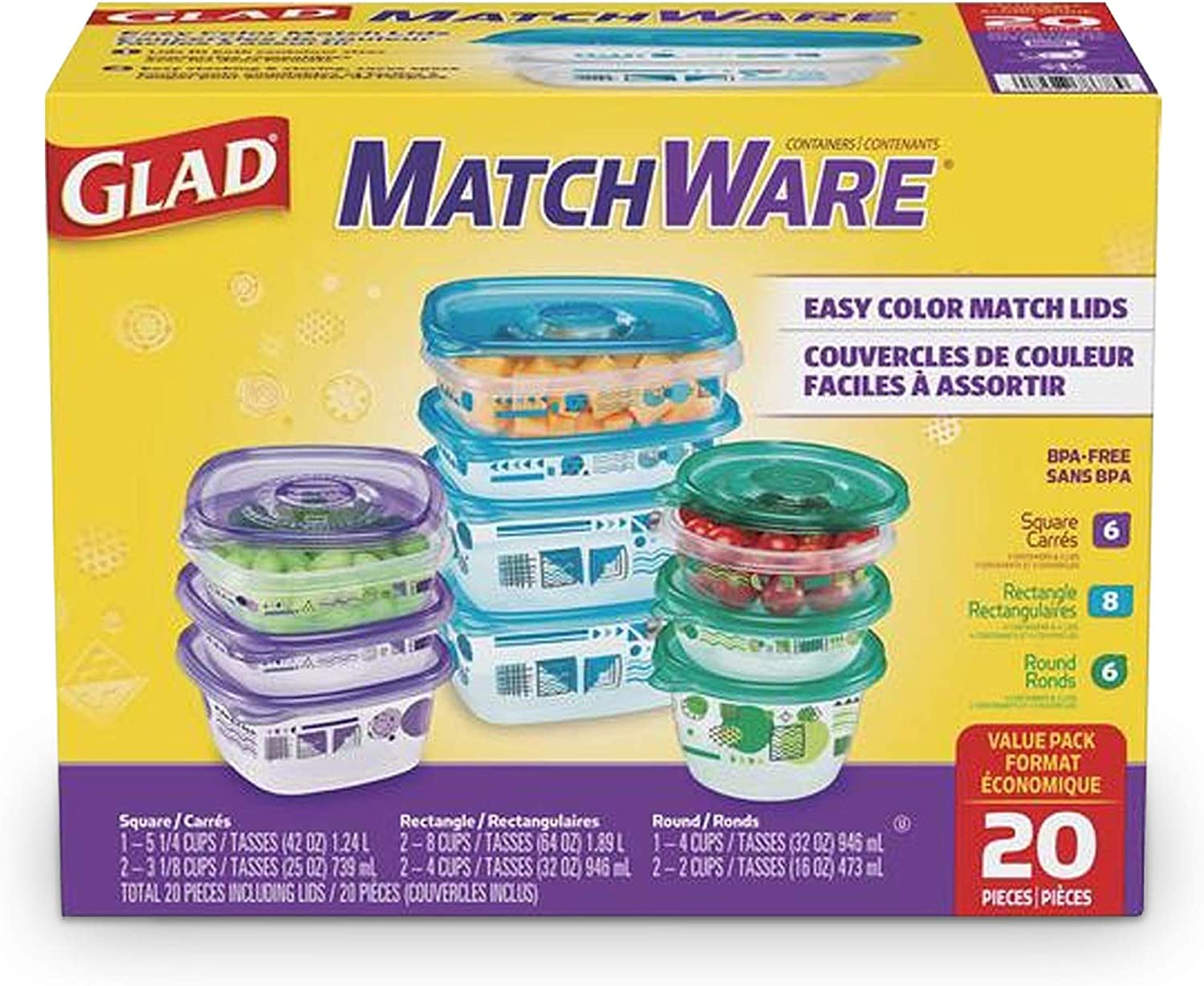 GladWare Matchware Food Storage Containers, Value Pack With Easy Color Match Lids, 20 Count Set