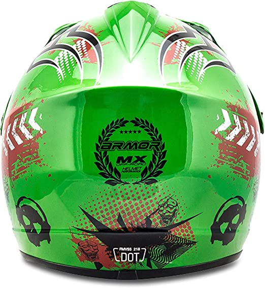Armor Helmets Akc 49 Green Kinder Cross Helm Motorrad Helm Mx Cross Helm Mtb Bmx Cross Bike Downhill Off Road Enduro Helm Moto Cross Sport Dot Schnellverschluss Tasche L 57 58cm Auto