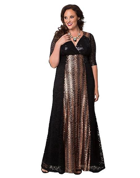 Kiyonna Womens Plus Size Grand Gatsby Gown 1x Rose Gold At Amazon