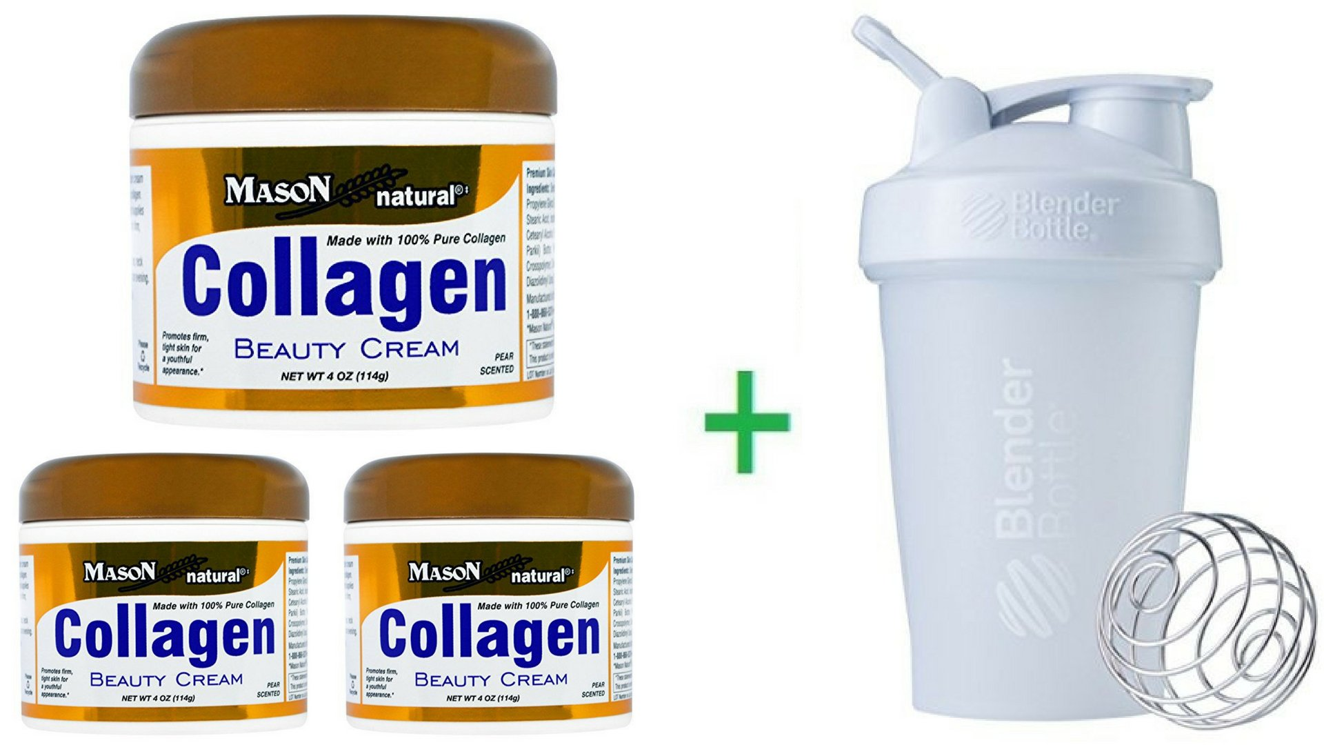 Mason Natural, Collagen Beauty Cream, Pear Scented, 4 oz (114 g) (3 Packs) + Sundesa, BlenderBottle, Classic With Loop, White, 20 oz