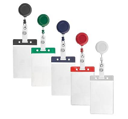 10 x Karteo® Funda para tarjeta y funda protectora con barras de color azul vertical con portacredencial tipo yoyo azul