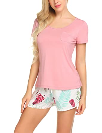 Ekouaer Casual Shirt and Pants Short Pajama Set Floral Sleepwear For  Women c1aab760e