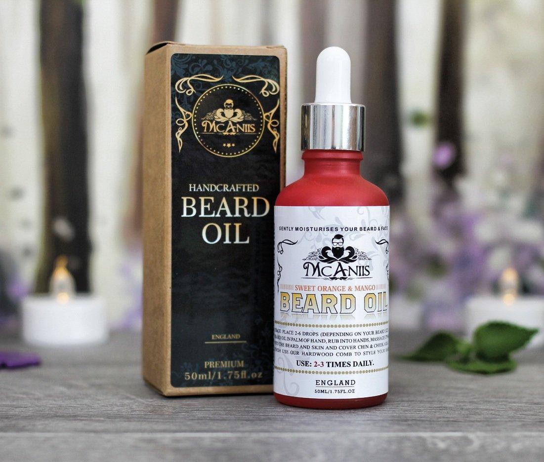 Aceite de barba para barba larga, haz tu barba, picor y caspa libre - vegano - Natural - naranja dulce y mango aroma con mango tropical/naranja/aceite de ...