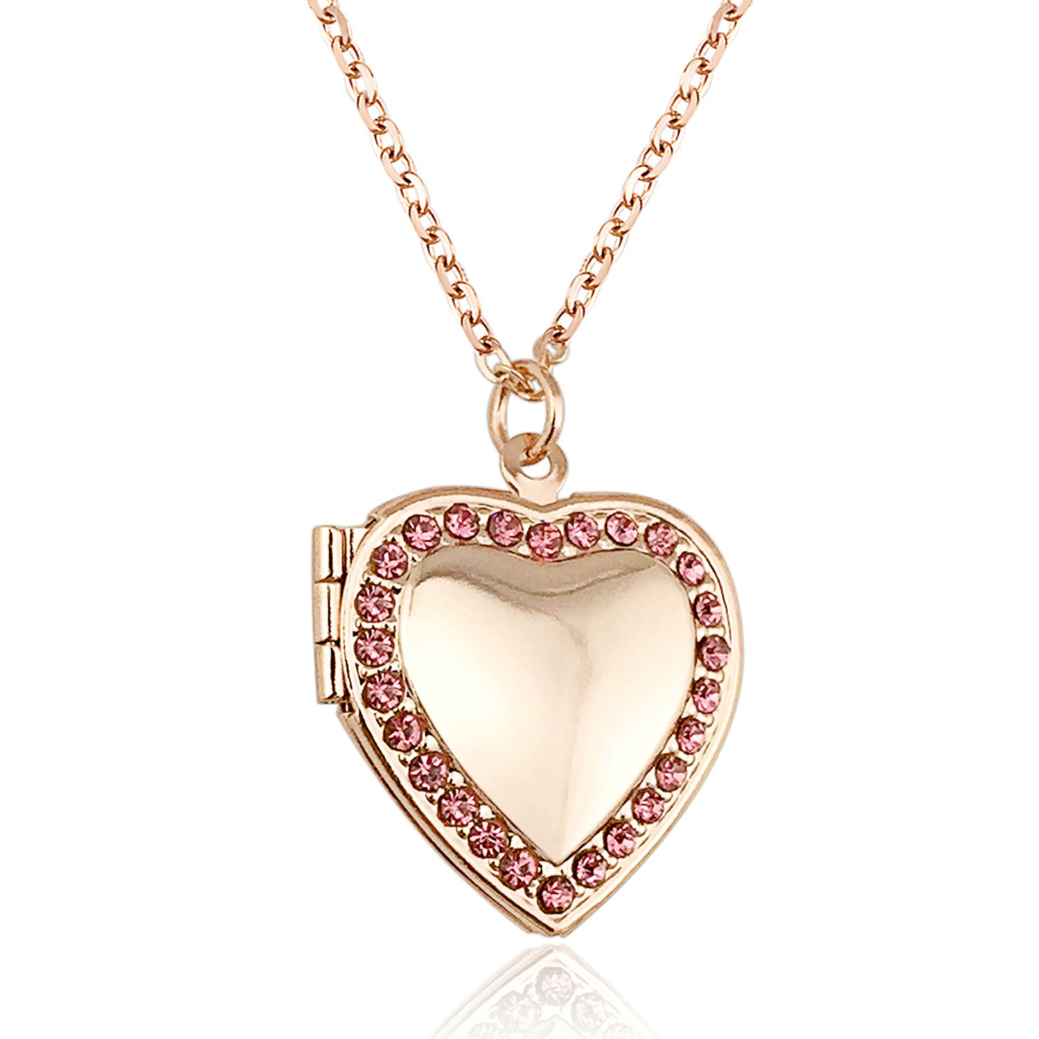 YOUFENG Love Heart Locket Necklace Holds Pictures Paved Blue Red White CZ Rose Gold Charm Living Memory Lockets (Rose Gold Locket)