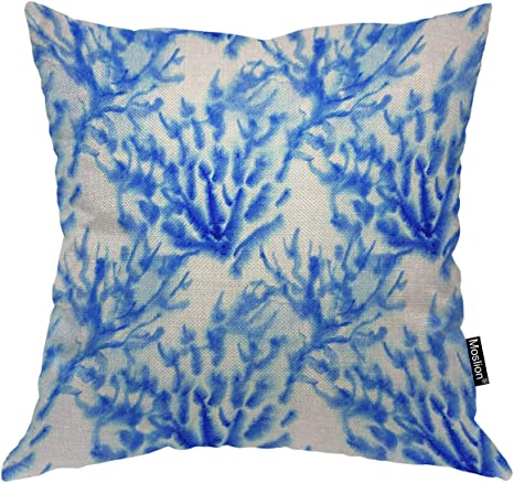 Amazon Com Moslion Coral Pillow Cases 24x24 Inch Watercolor Painting Blue Sea Coral Splash Throw Pillow Covers Cotton Linen Canvas Decorative Square Cushion For Living Room Home Kitchen