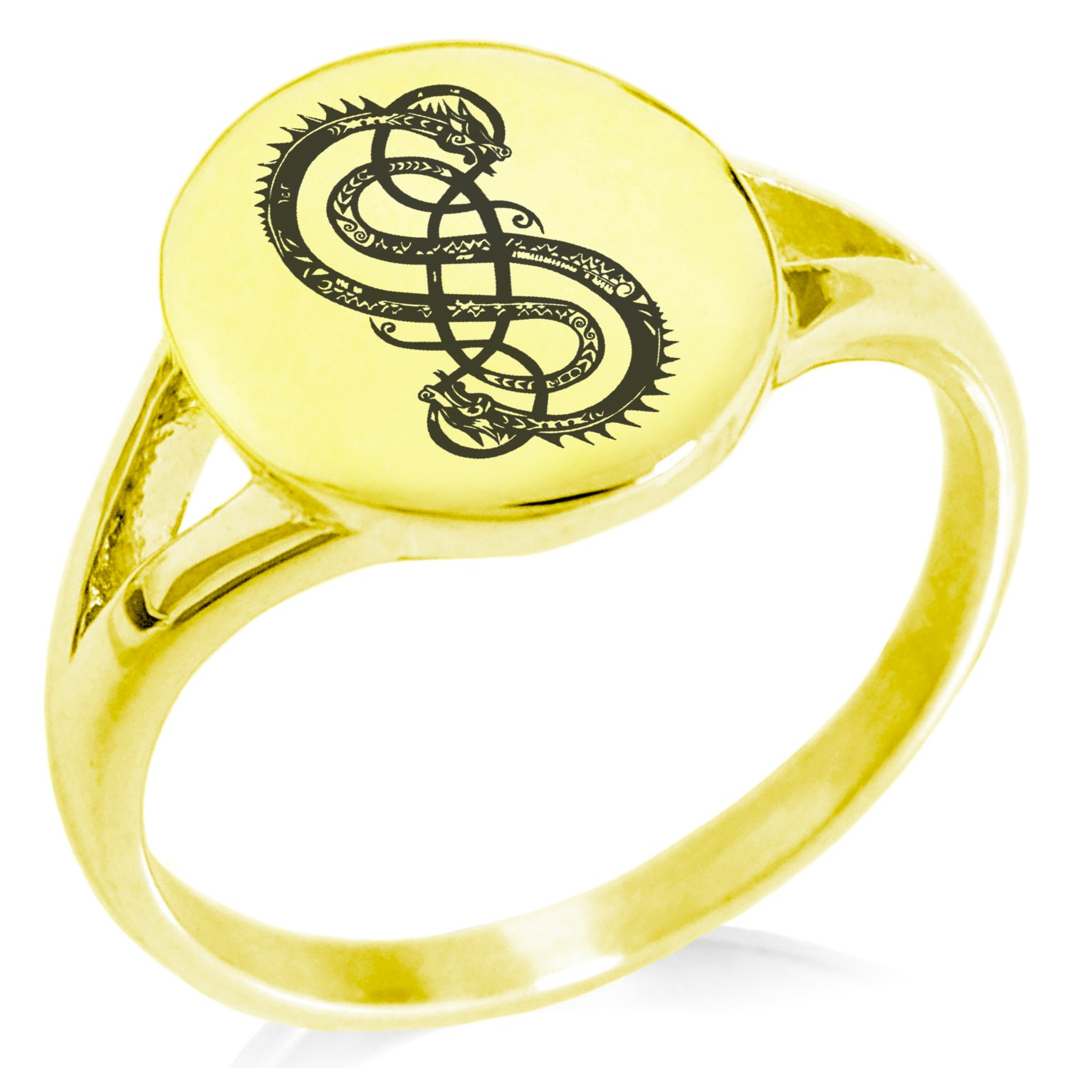 Tioneer Gold Plated Stainless Steel God of Mischief Loki Viking Norse Symbol Minimalist Oval Top Polished Statement Ring, Size 6