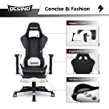 DESINO Gaming Chair Racing Style High Back Computer Chair Swivel Ergonomic Executive Office Leather Chair Video Game Desk Chair with Footrest for Adults