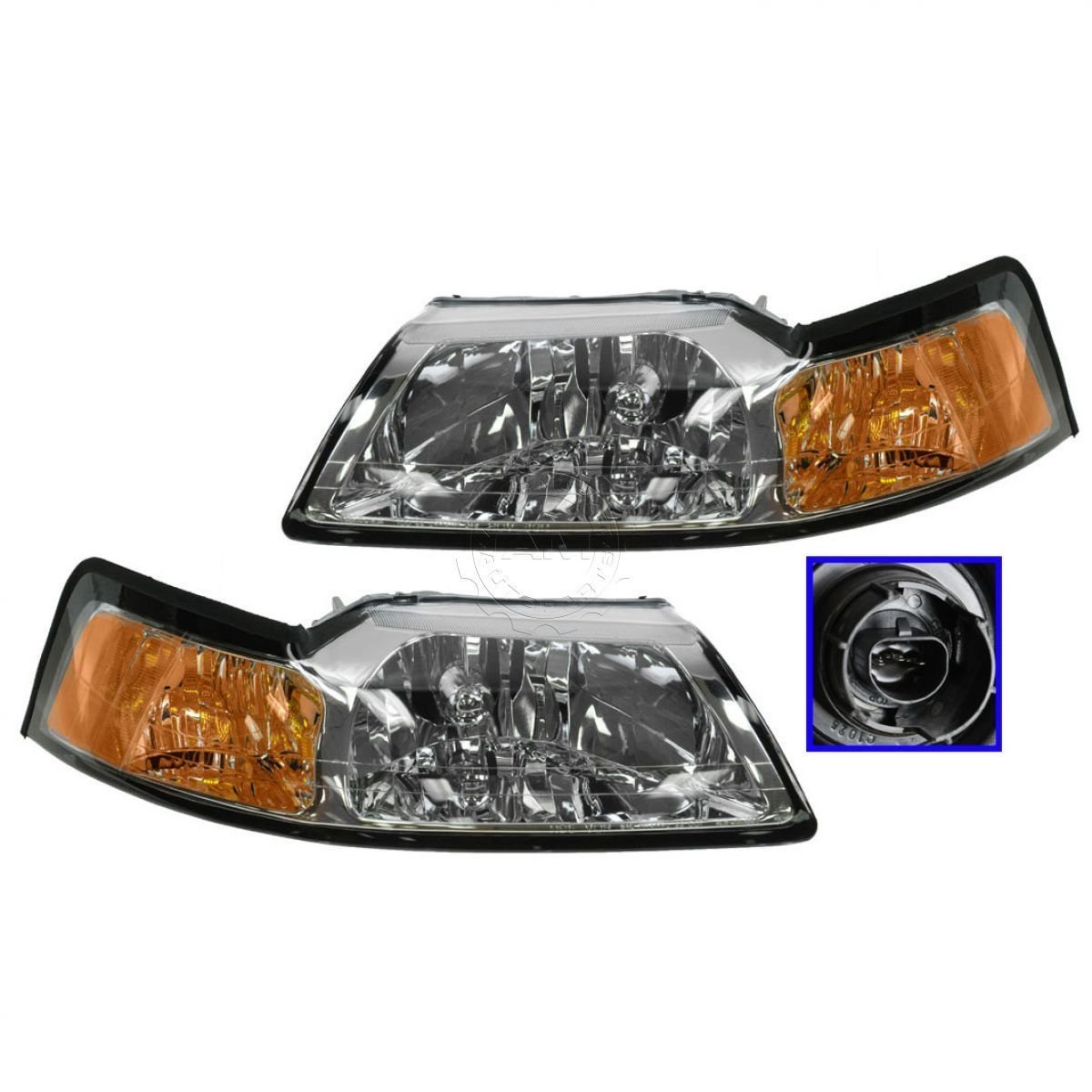 Headlights Headlamps w/ Chrome Bezel Left & Right Pair Set for 99-04 Mustang by Aftermarket