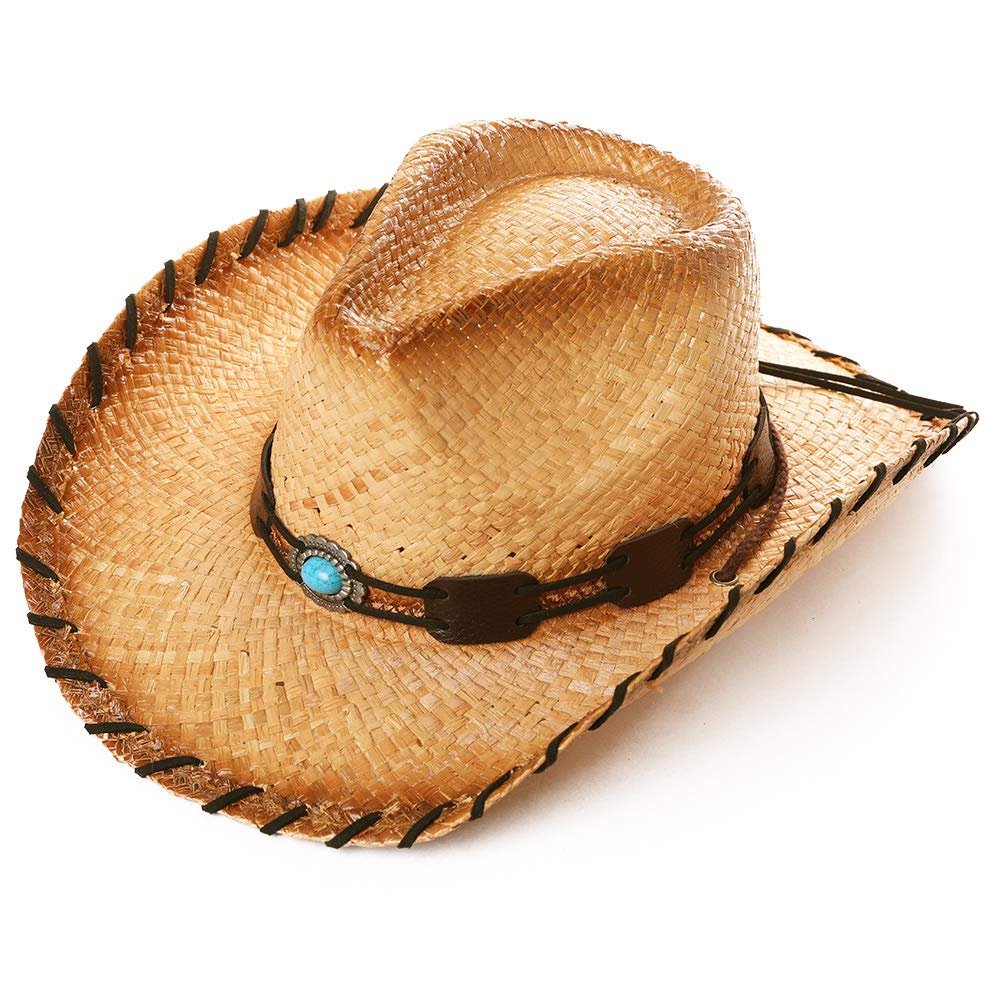Western Style Round Up Cowboy Straw Hat Ladies Fedora Chin Cord Vegan Leather Band Shapeable Brim Beach Cowgirl Natural