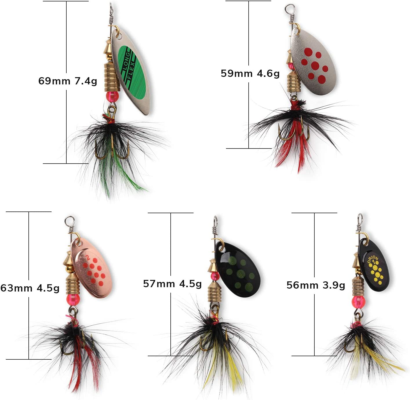 10pcs Fishing Lure Spinnerbait, Bass Trout Salmon Hard Metal Spinner Baits Kit with Tackle Boxes : Sports & Outdoors