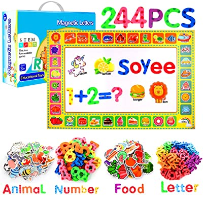 Soyee 244pcs Magnetic Letters and Numbers, Fridge Magnets for Refrigerator Fun, Alphabet ABC Magnets Toys Learning Gift for 3,4,5,6,7 Years Old Kids, Toddlers,Girls, Boys: Toys & Games